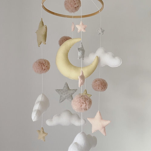 Pastel Moon, Stars & Clouds with pompoms