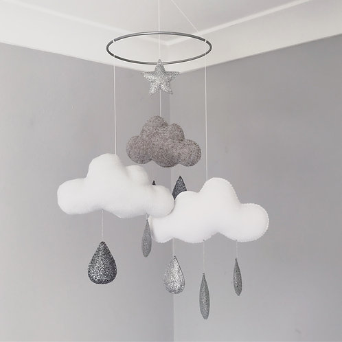 Cloud and Raindrops mobile in silver shimmer
