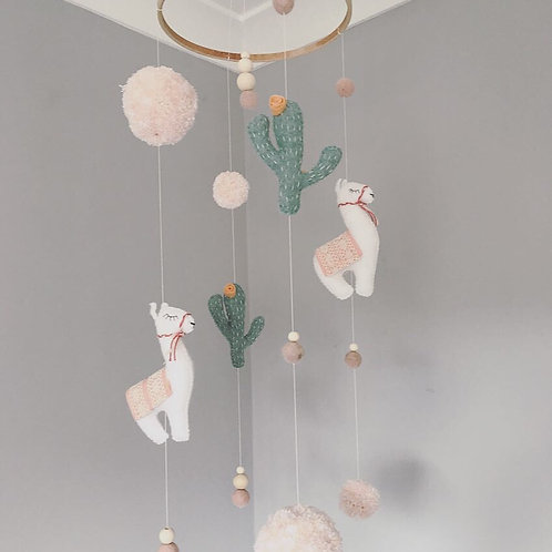 Llama Baby Mobile in Apricot