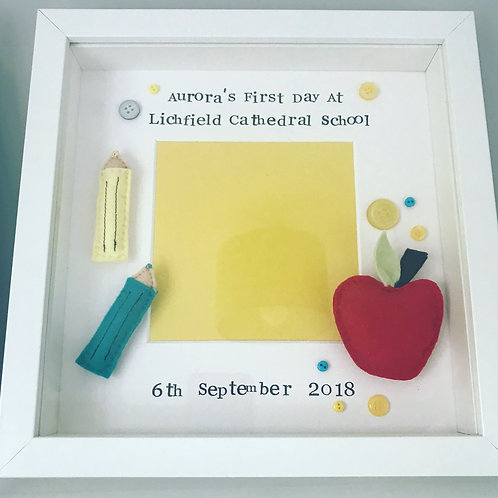 First Day At School Frame - Crayons and Apple