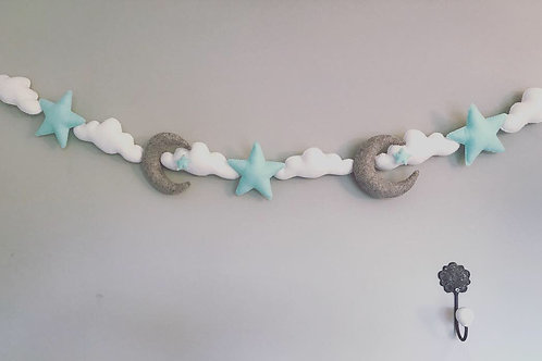 Moon, cloud and stars garland