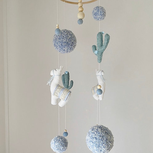 Llama Baby Mobile in Blue