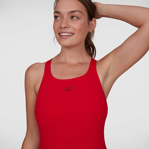 Speedo Womens Essential Endurance+ Medalist Swimsuit Red