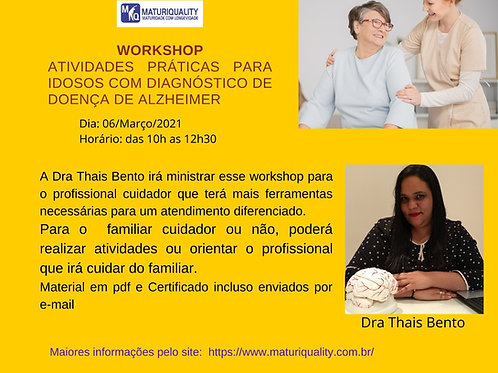 Workshop Atividades práticas para Idosos com Diagnóstico  de Alzheimer