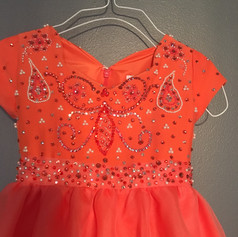 Close up of beading on custom girls pageant gown