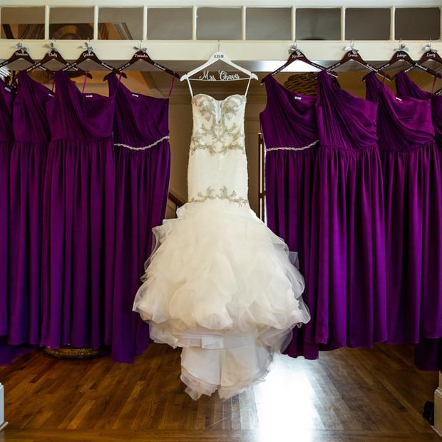 Custom Magenta silk chiffon and silk charmeuse bridesmaid dresses.