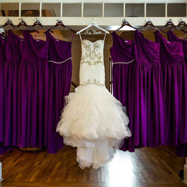 Custom Magenta silk chiffon and silk charmeuse bridesmaid dresses.