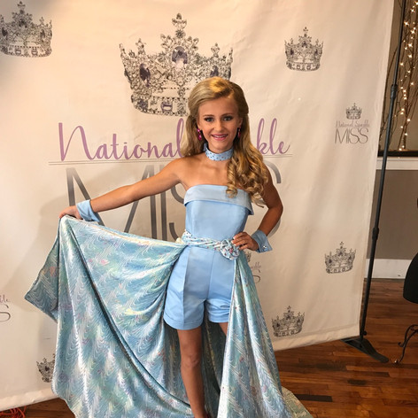 Custom fun fashion in soft blue was the perfect color combination for this fair haired beauty.