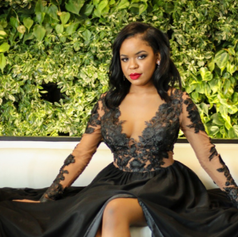 Custom prom dress in silk chiffon and satin skirt, bodice is mesh matched to skin tone and black beaded lace.