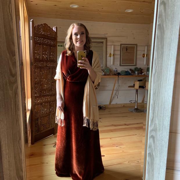Custom designed rust colored silk velvet bridesmaid dress.