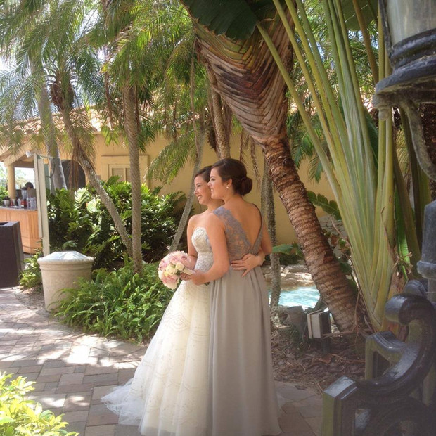 Custom gray silk chiffon, silk charmeuse and french lace bridesmaid dress.