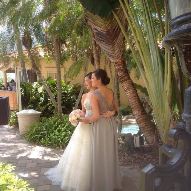 Custom gray silk chiffon, silk charmeuse and french lace bridesmaid dress.