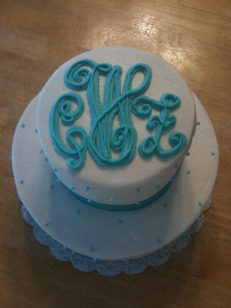 Bridal shower cake with monogram