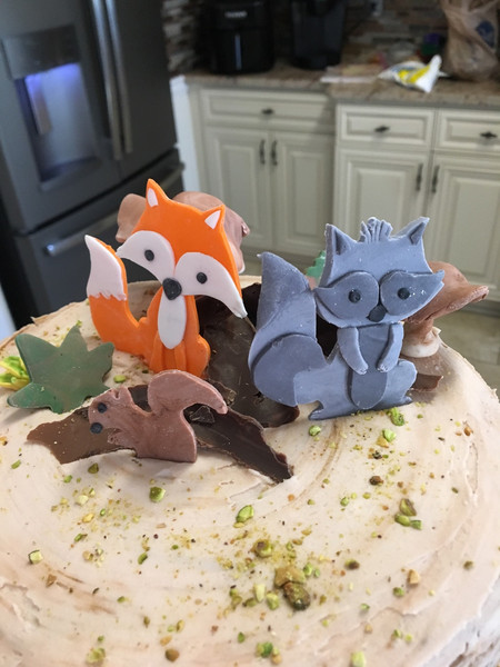 Woodland creatures made of fondant