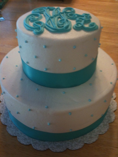 Bridal shower monogram cake