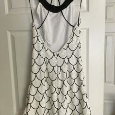 Custom black and white sequin gown.