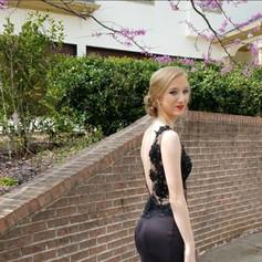 Gorgeous black satin and lace custom prom dress.