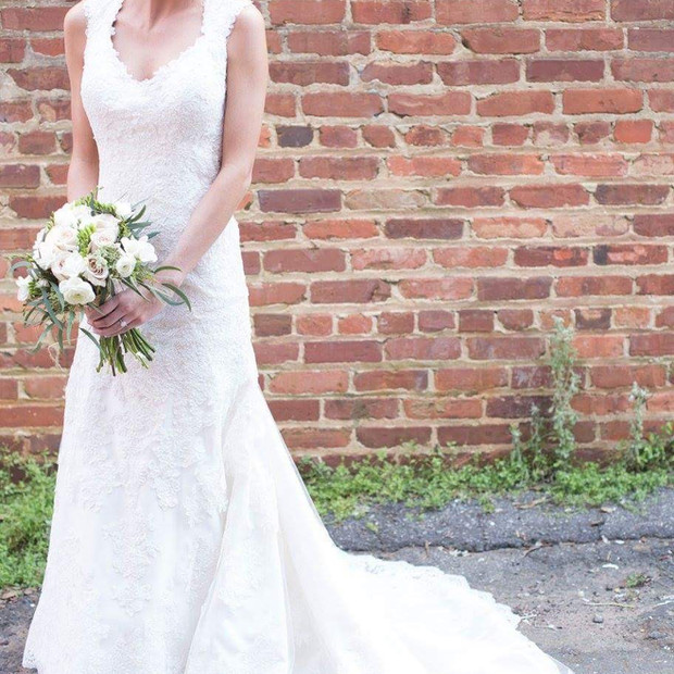 Custom made Fit and flare lace wedding gown