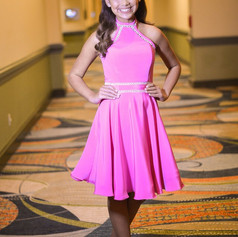 The full skirt on this interview dress is perfect with the horsehair hem.