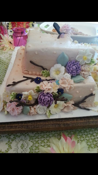 Buttercream floral and chocolate branches