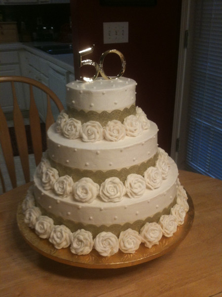 50th Anniversary 3 tier cake with buttercream roses