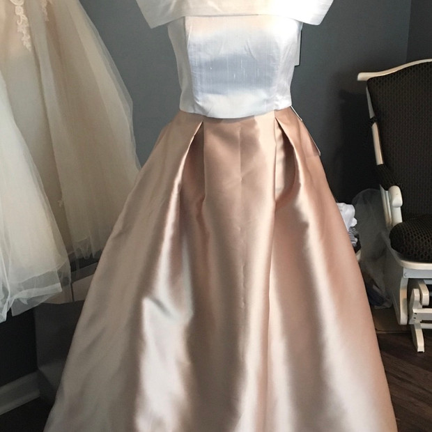Custom 2 piece silk shantung off the shoulder top with a blush Mikado ball gown skirt.