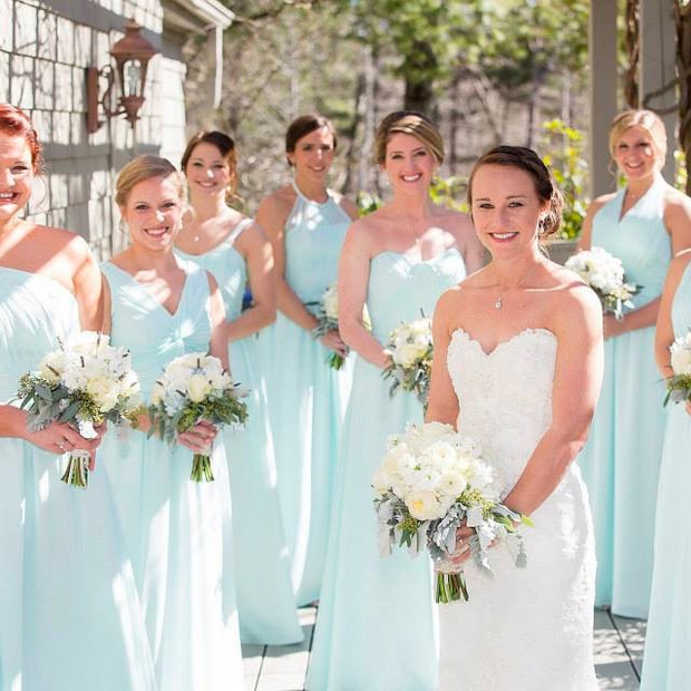 Fresh breath of spring is what I think of when I see these bridesmaids in their light aqua silk bridesmaid dresses.