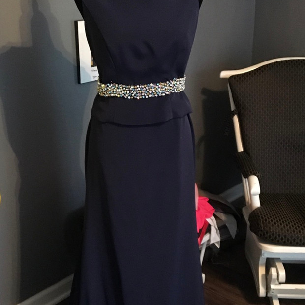 Custom Navy silk 4 ply crepe 2 piece Mother of the bride dress accented with hand beaded belt in multicolored faceted Rhinetones.