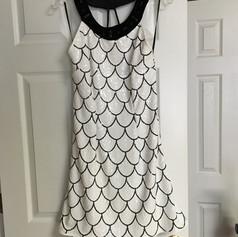 Custom white and black sequin cocktail dress