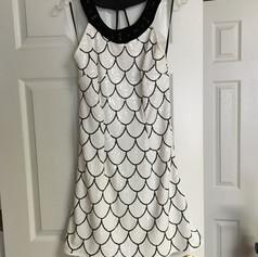 Custom white and black sequin cocktail dress