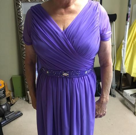 Custom design periwinkle dress.