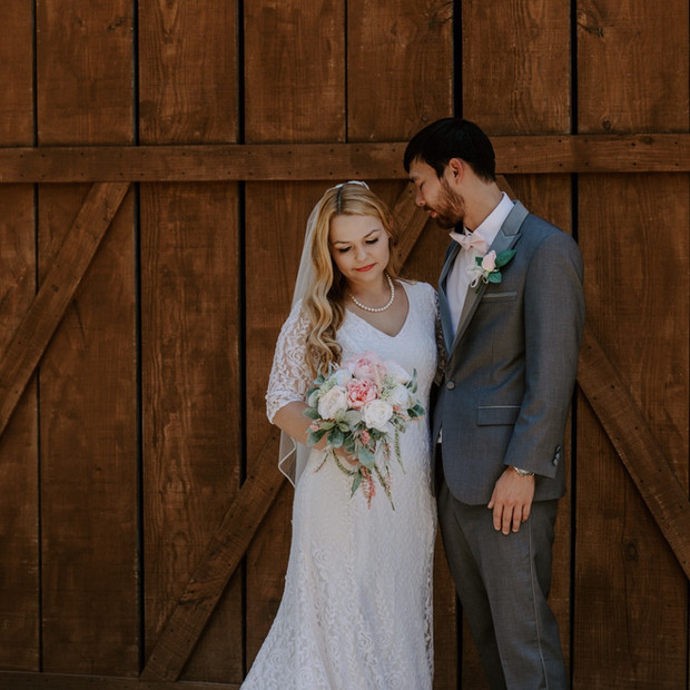 Custom made romantic soft lace fit and flare wedding gown