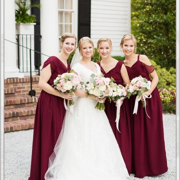 Custom designed silk chiffon and silk charmeuse bridesmaid dresses