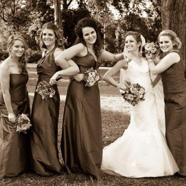 Custom bridesmaid dresses and wedding gown