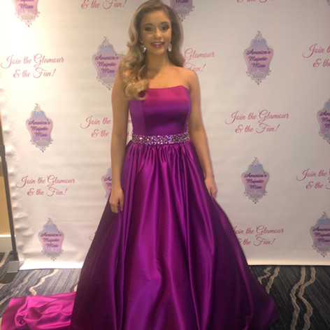 Custom pageant ball gown with pockets