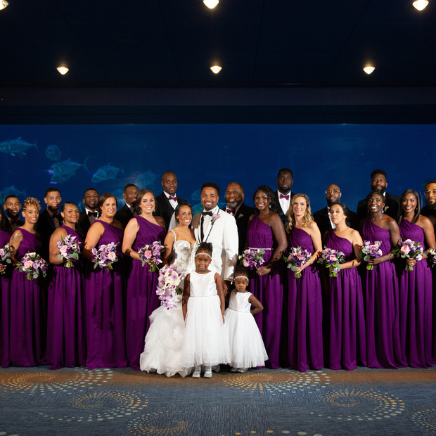 Custom magenta silk bridesmaid dresses.