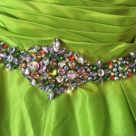 Need a beaded, belt no problem.  All the Swarovski rhinestones were handsewn  to make this intricate color combination and design for an amazing fun fashion.