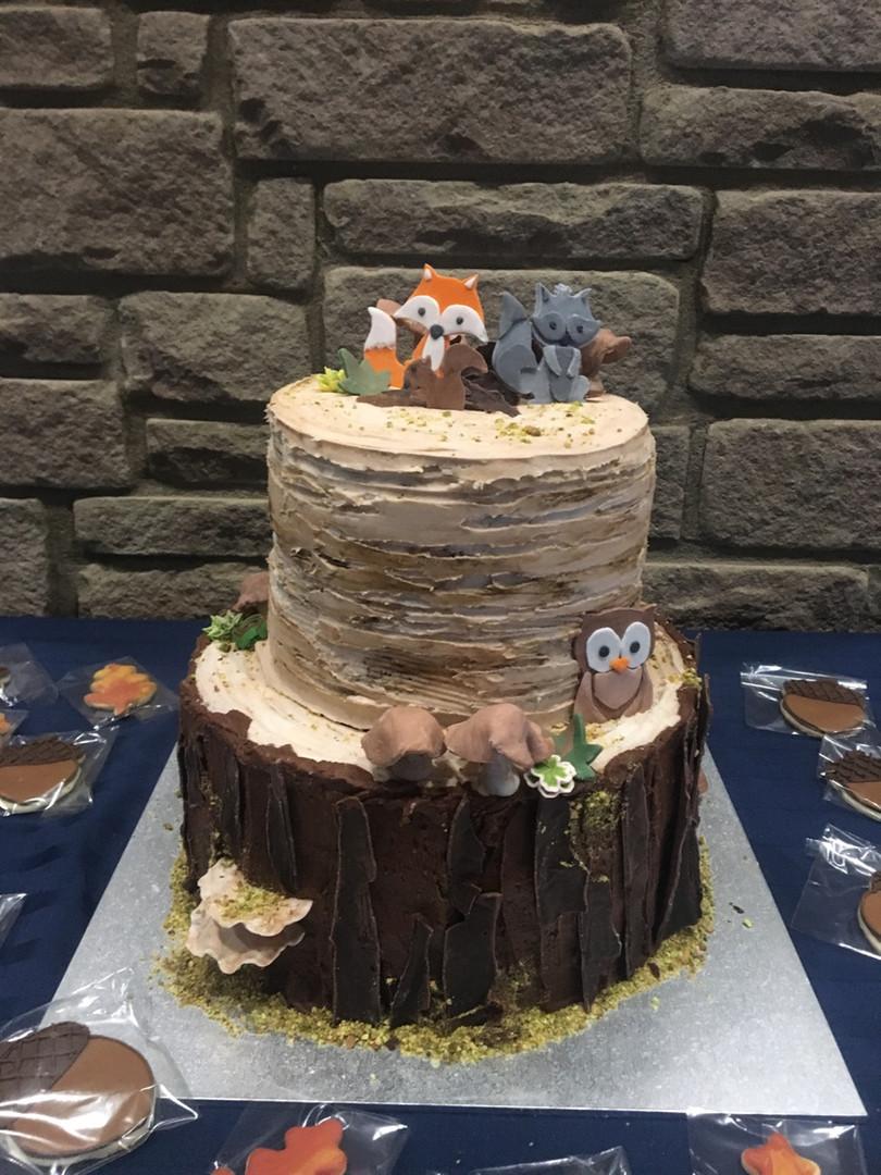 Woodland 2 tier cake with chocolate bark tree stump