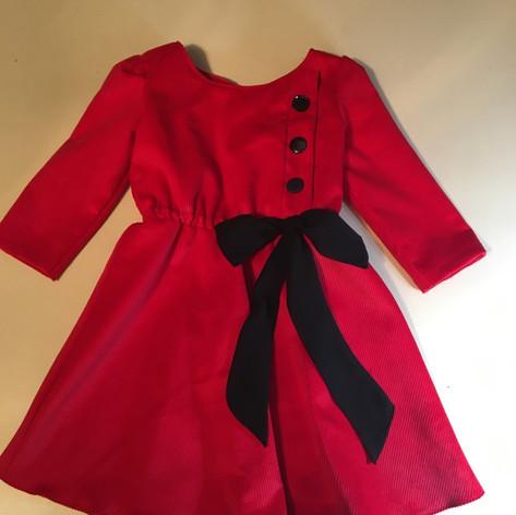 Baby cordoroy custom red and black dress designed for Foxcubwear.com
