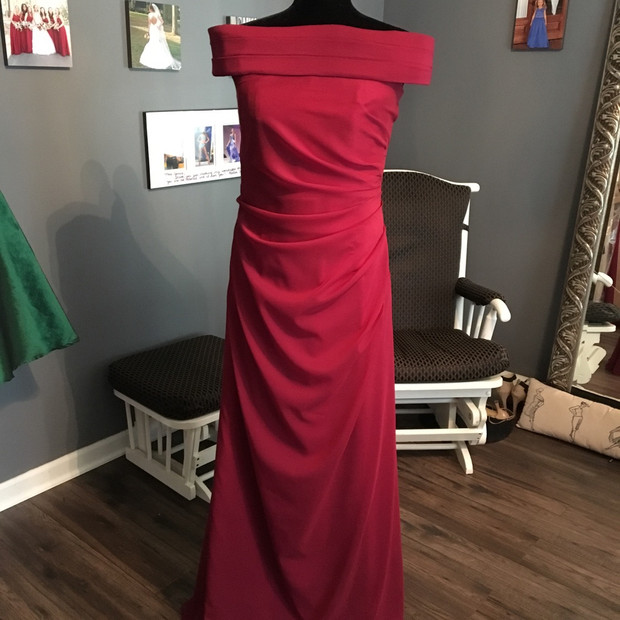 Custom Cranberry silk chiffon and silk charmeuse Mother of the Bride gown.