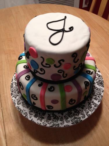 Fun 2 tier cake for girls birthday