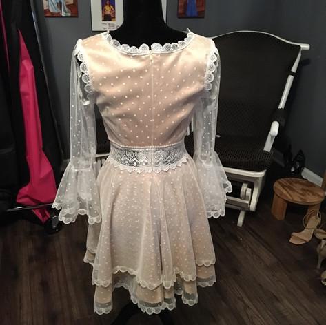 Custom swiss dot and satin dress for Bridal shower.