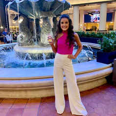 Custom hot pink bodice with ivory pants for interview