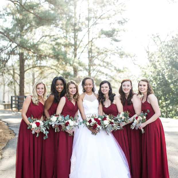 One of the most beautiful bridal parties I have seen.  Each bridesmaid picked their style of bodice and it really showed how confident they felt in their custom silk dresses.