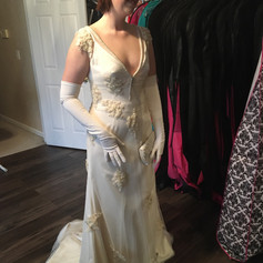 A roaring 20's party at the Biltmore is the perfect place for this custom satin and lace gown.