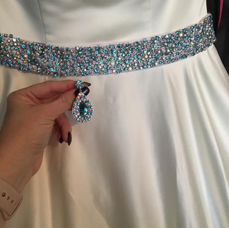 Custom earrings to match custom belt.