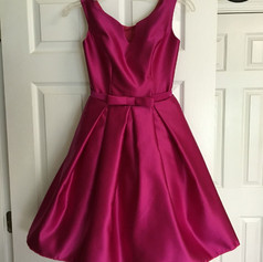 Custom designed magenta satin interview dress.
