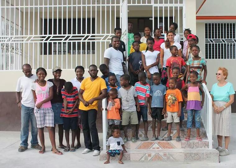 Staff and children at Children's Home