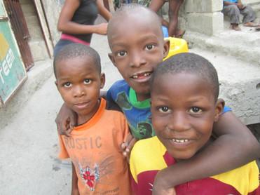 Friendly boys in community