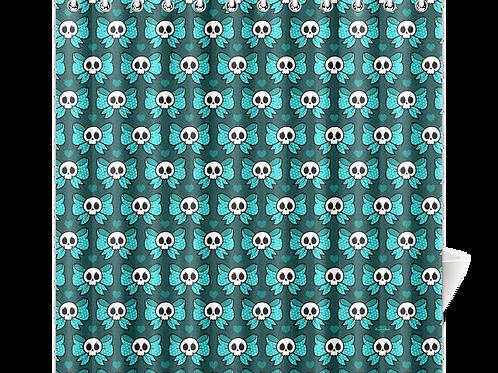 Skull Bow Shower Curtain